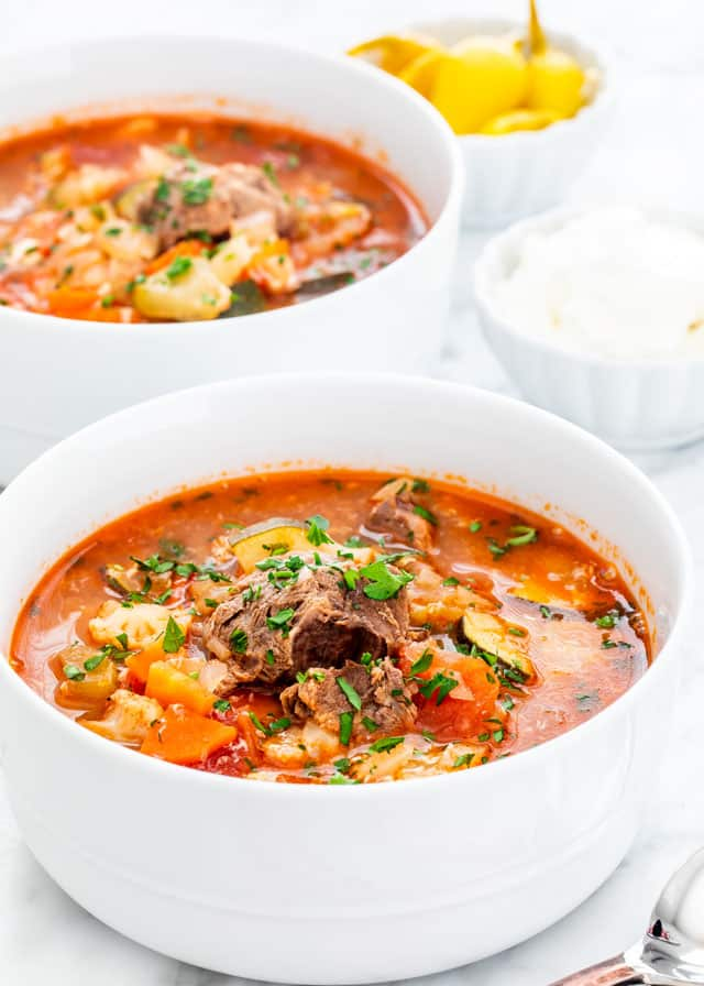 Vegetable Beef Soup in white bowls