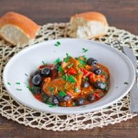 olive stew in a bowl
