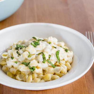 Pasta Shells with Cauliflower Alfredo Sauce