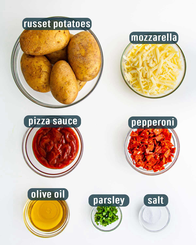 ingredients needed to make pizza potato skins.