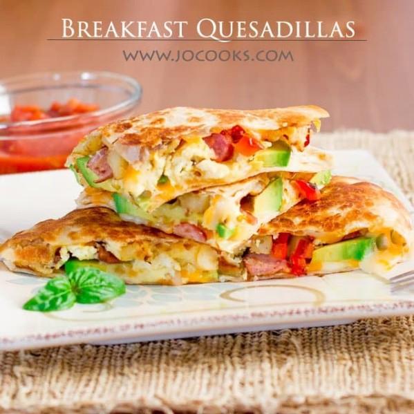 breakfast quesadillas on a plate