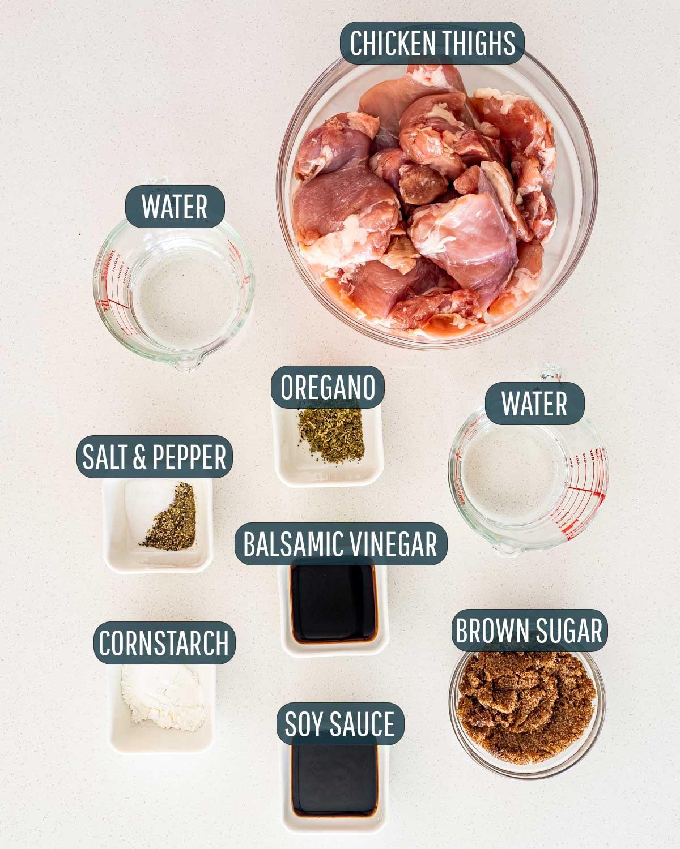 overhead shot of ingredients needed to make brown sugar pulled pork.