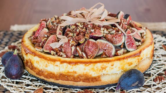 Goat Cheesecake with Figs Pecans and Honey – a heavenly decadent cheesecake, that melts in your mouth. It's sinfully delicious!