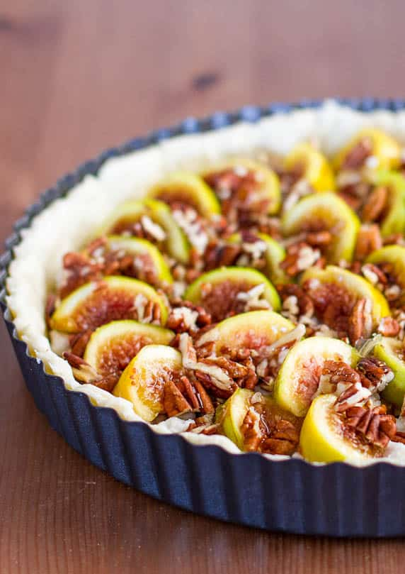 Close up of Fig Tart with Pecans and Goat Cheese