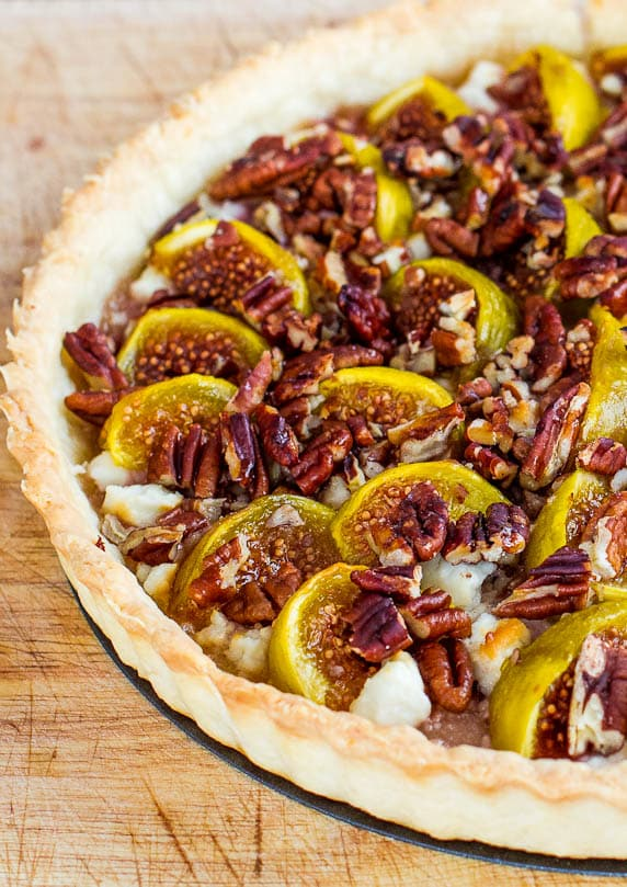 Top, close up shot of Fig Tart with Pecans and Goat Cheese