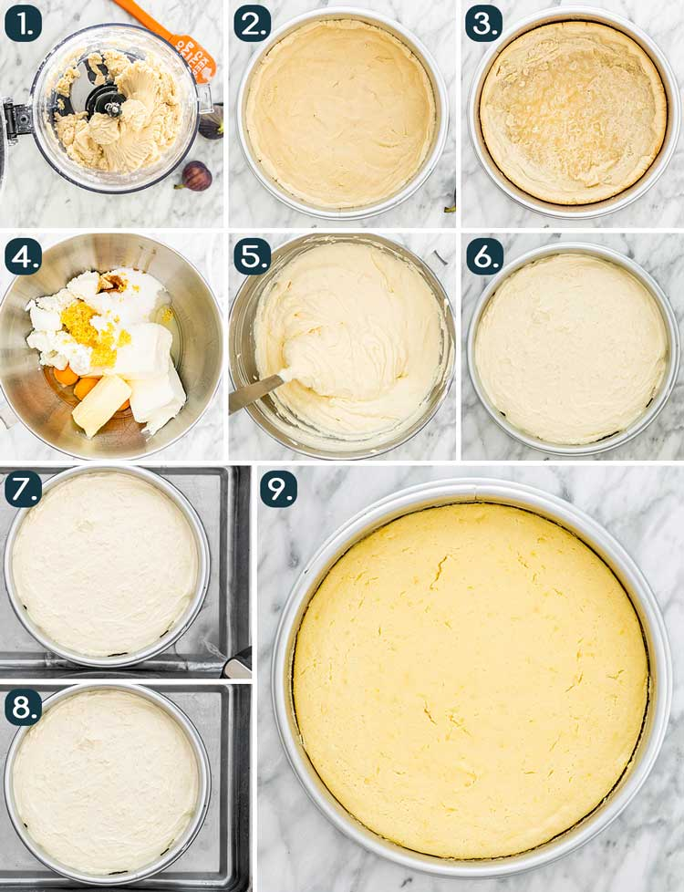 process shots showing how to make goat cheese cheesecake