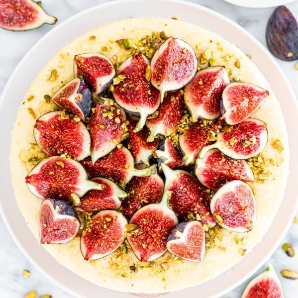 overhead shot of goat cheese cheesecakes with figs