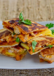 bbq chicken with mango quesadillas-1-5