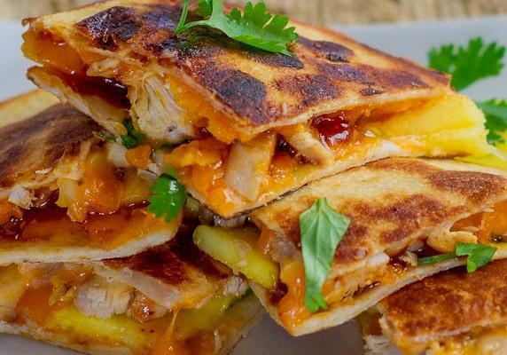 bbq chicken with mango quesadillas-1-5