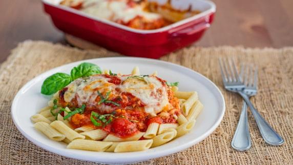 Lighter Chicken Parmigiana on a plate