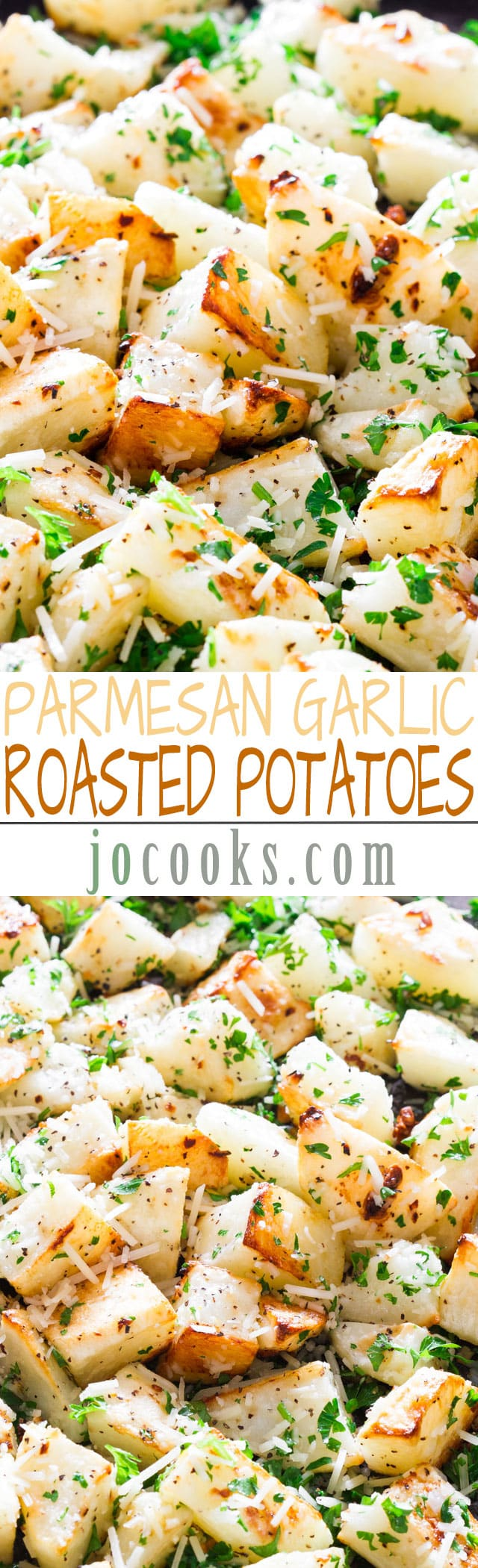 Parmesan Garlic Roasted Potatoes – so crispy and delicious, roasted to perfection! A perfect side dish.