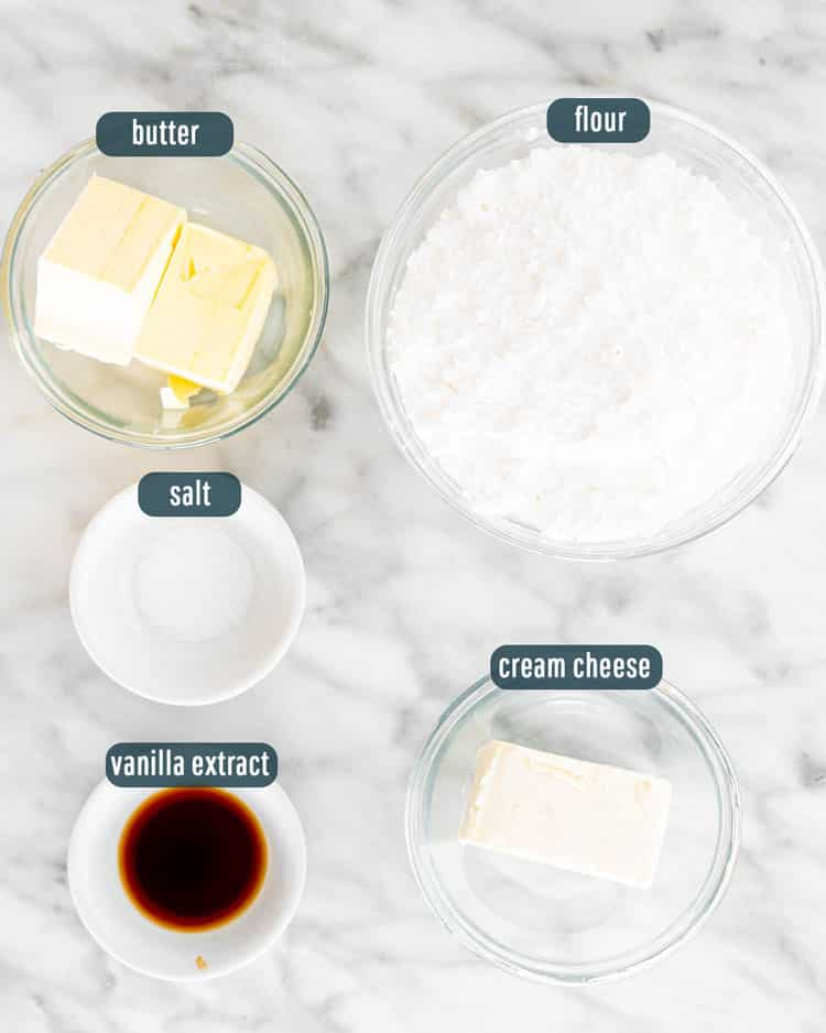 overhead shot of ingredients needed to make cream cheese icing