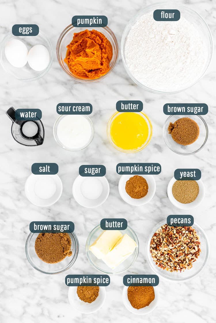 overhead shot of ingredients needed to make pumpkin cinnamon rolls