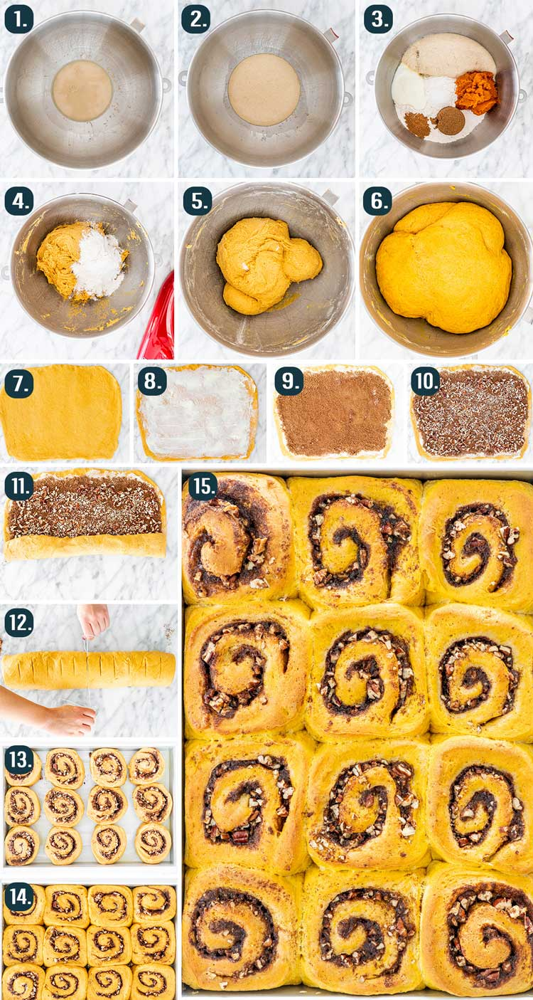 process shots showing how to make pumpkin cinnamon rolls