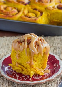 pumpkin sweet rolls with cranberries and peacans and caramel cream cheese icing-1-4