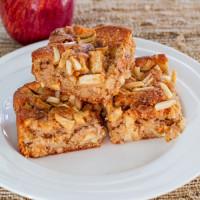 almond apple cinnamon bars on a plate