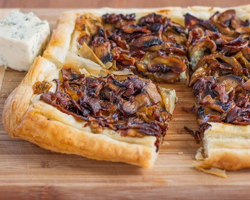 caramelized onions and mushroom with blue cheese tart1
