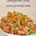 a bowl of crockpot mongolian beef