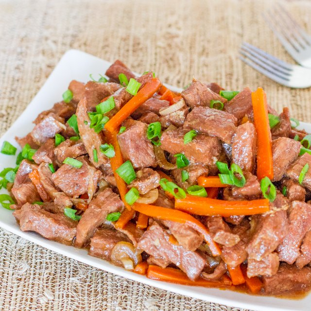 Crockpot Mongolian Beef on a plate