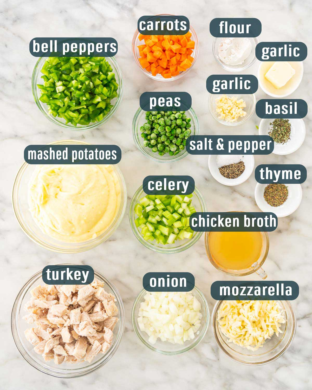 overhead shot for ingredients needed to make leftover turkey shepherd's pie.