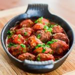 spicy ricotta meatballs in tomato sauce