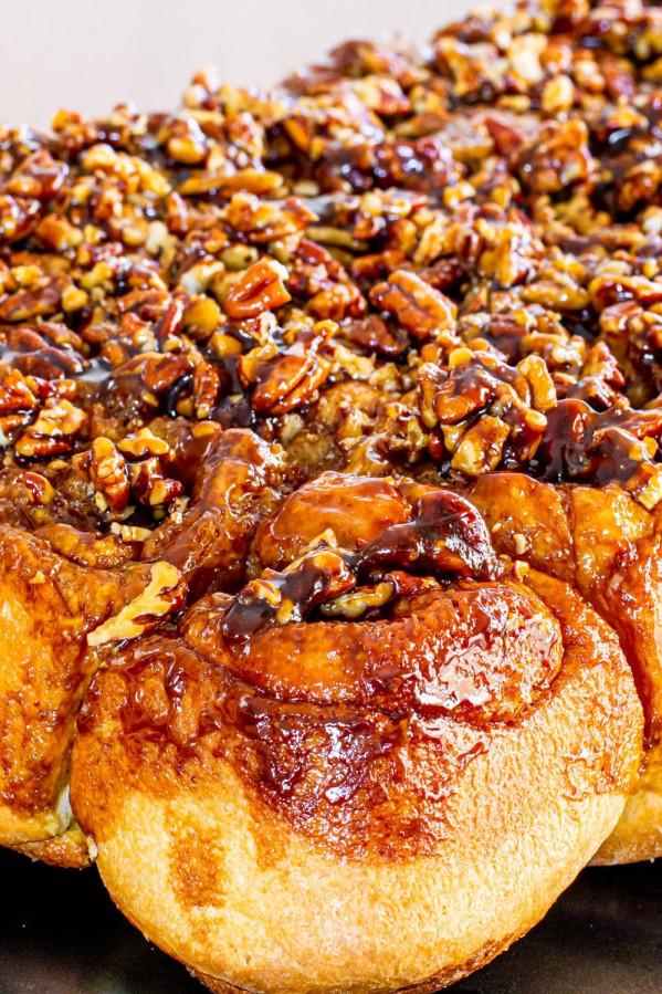 close up side view shot of sticky buns