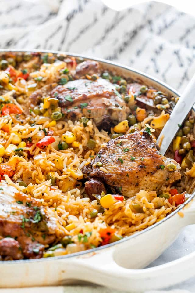 Arroz Con Pollo in a skillet