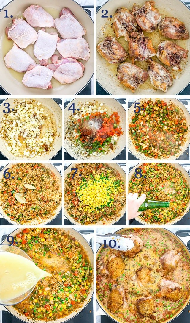 process shots for making Arroz Con Pollo