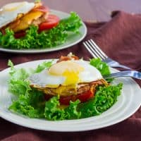 a breakfast turkey stack on a plate
