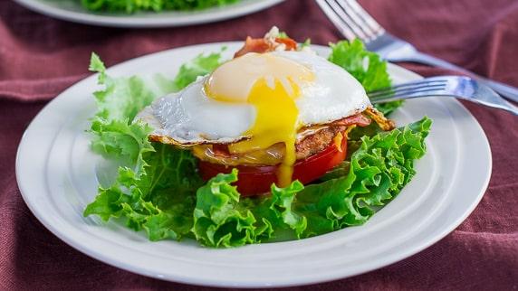 Breakfast Turkey Stack on a plate