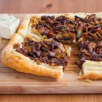 caramelized onion and mushroom tart
