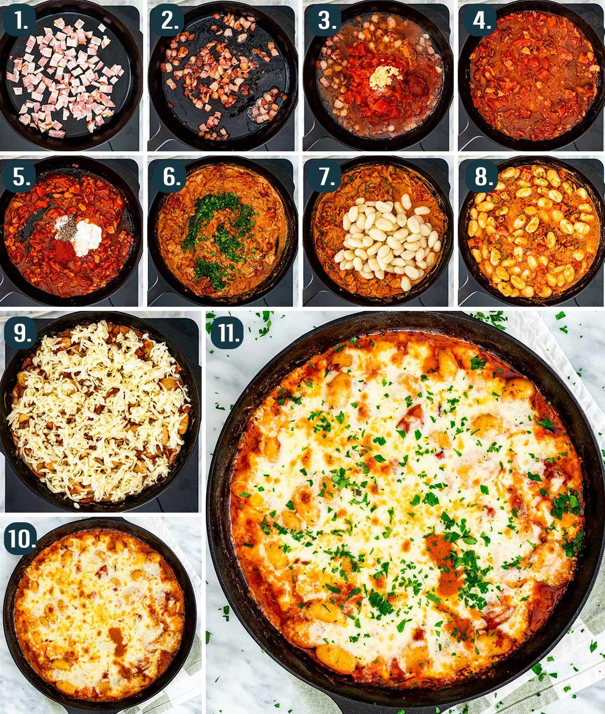 process shots showing how to make cheesy gnocchi bake