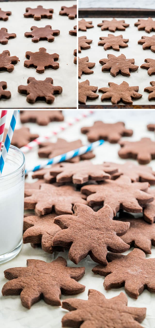 Pile of Chocolate Sugar Cookies with a glass of milk
