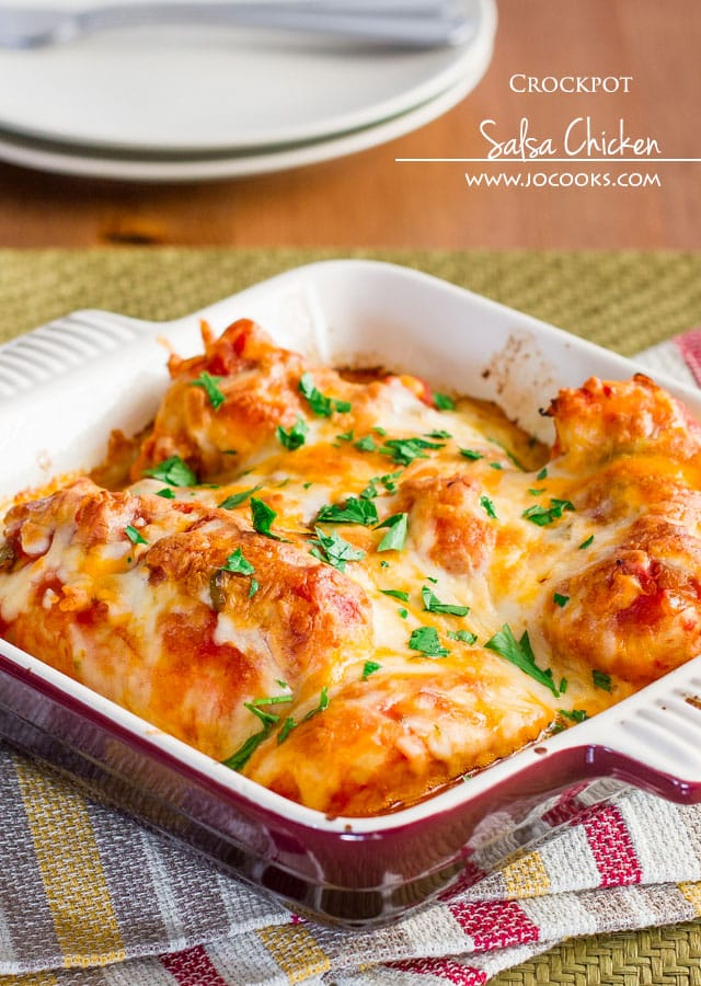 Crockpot Salsa Chicken with cheese – only 3 ingredients, it's embarrassingly easy to make and so delicious.