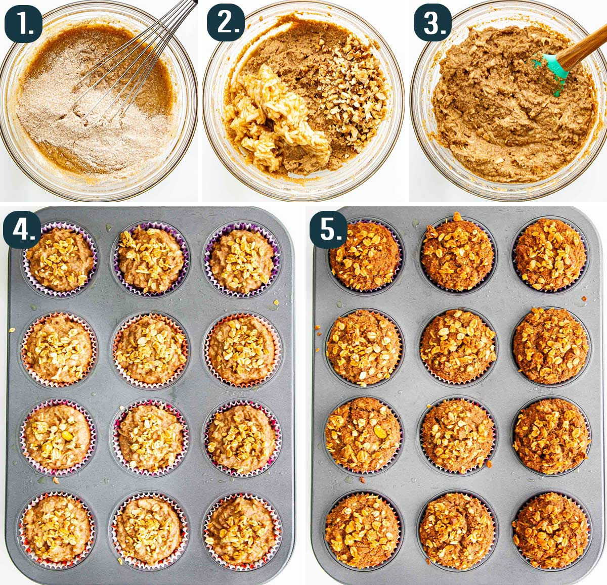 process shots showing how to make healthy apple muffins.