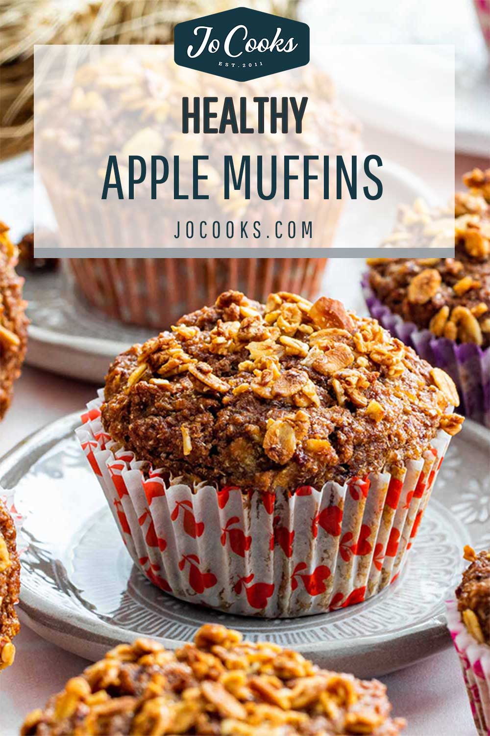 pin for healthy apple muffins.