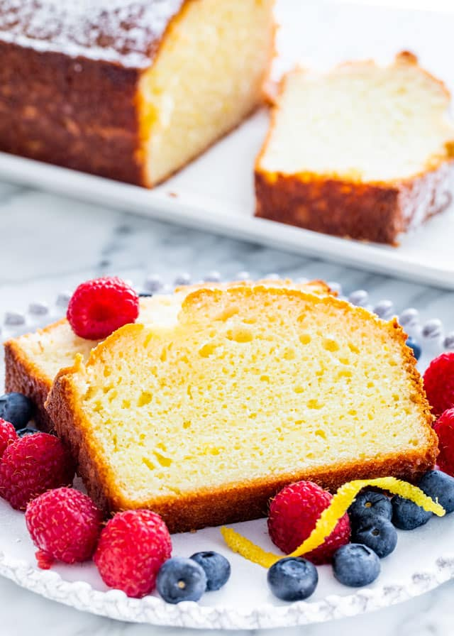 two slices of lemon yogurt cake