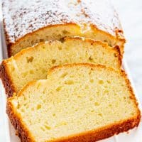 side view shot of lemon yogurt cake sliced