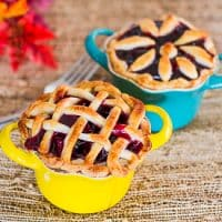mini gluten free cherry pies in coloured ramekins