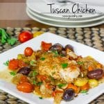a plate of tuscan chicken