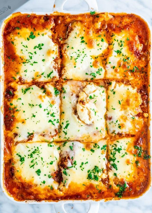 Zucchini Lasagna in a lasagna baking dish