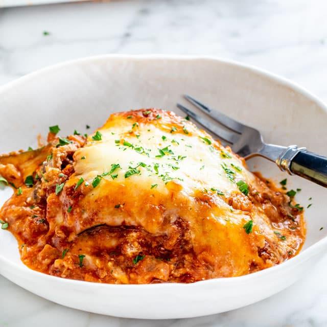 Zucchini Lasagna in a white plate