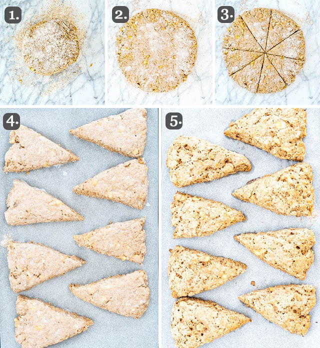 process shots for shaping Banana Buzz Scones