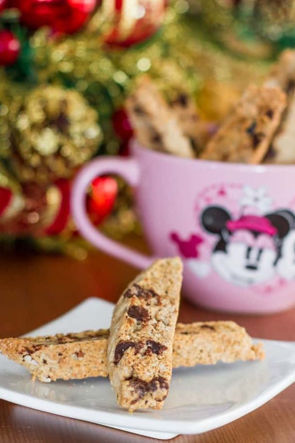 two chai chocolate chip biscotti biscuits on a plate