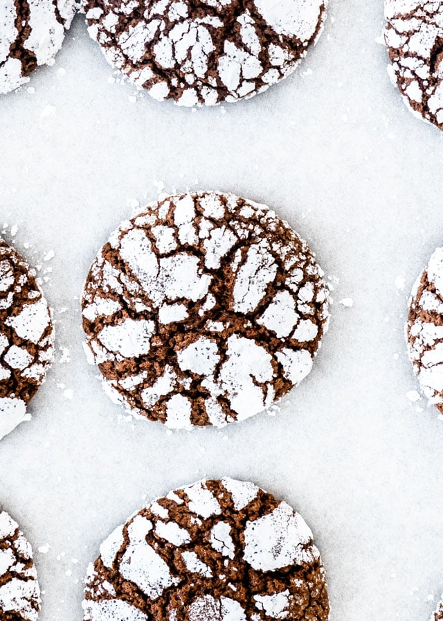 overhead shot of a Chocolate Crinkle Cookie