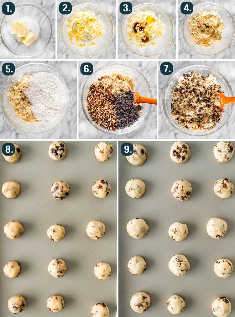 process shots showing how to make chocolate pecan snowballs