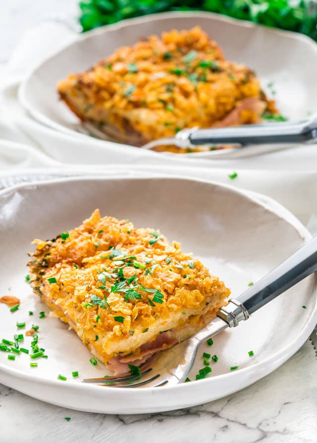 This Christmas Morning Wife Saver is the perfect casserole for Christmas morning made with ham and cheese and topped with cornflakes. Just wake up, bake it and enjoy!