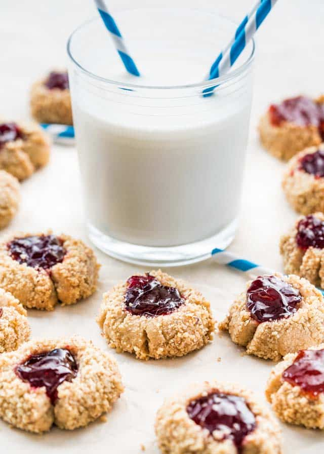 Thumbprint Cookies around a glass of milk
