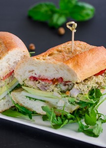Leftover Turkey with Pistachio Pesto and Arugula Sandwich