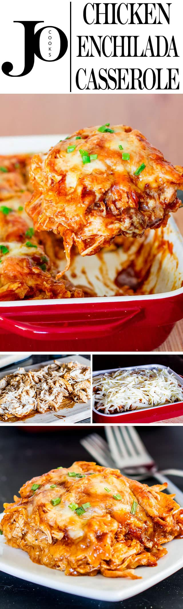 Easy Chicken Enchilada Casserole - 4 ingredients is all it takes to make this popular Mexican dish. It's cheesy, it's spicy, it's sinfully delicious. #chickenenchilada #casserole